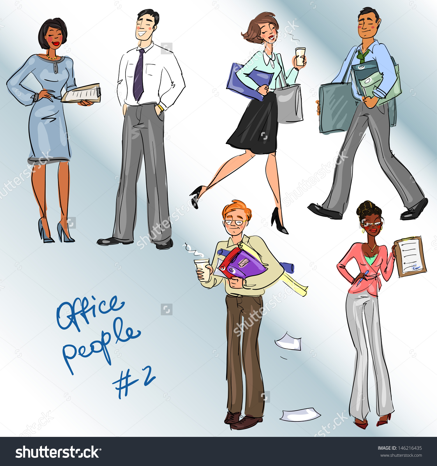 Office People 2 Hand Drawn Clip Stock Vector 146216435.