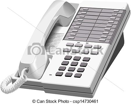 Clip Art Vector of Office Phone Icon. Vector illustration.