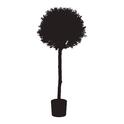 House and office plant tree silhouette Clipart Image.