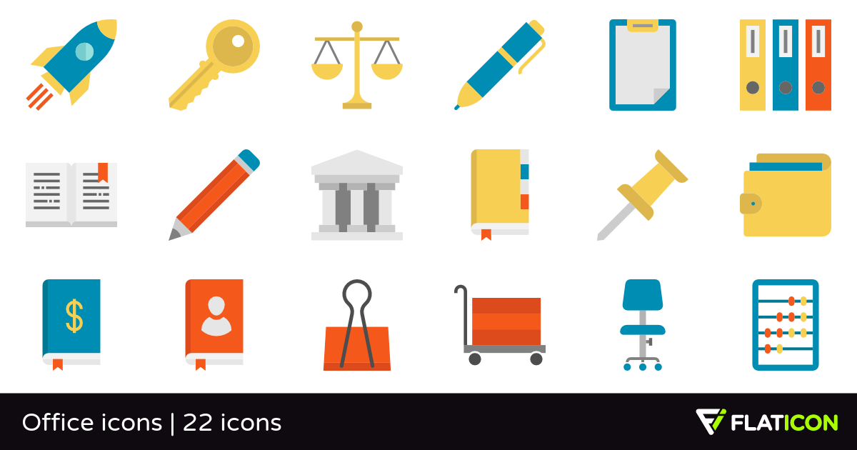 Office icons 22 free icons (SVG, EPS, PSD, PNG files).