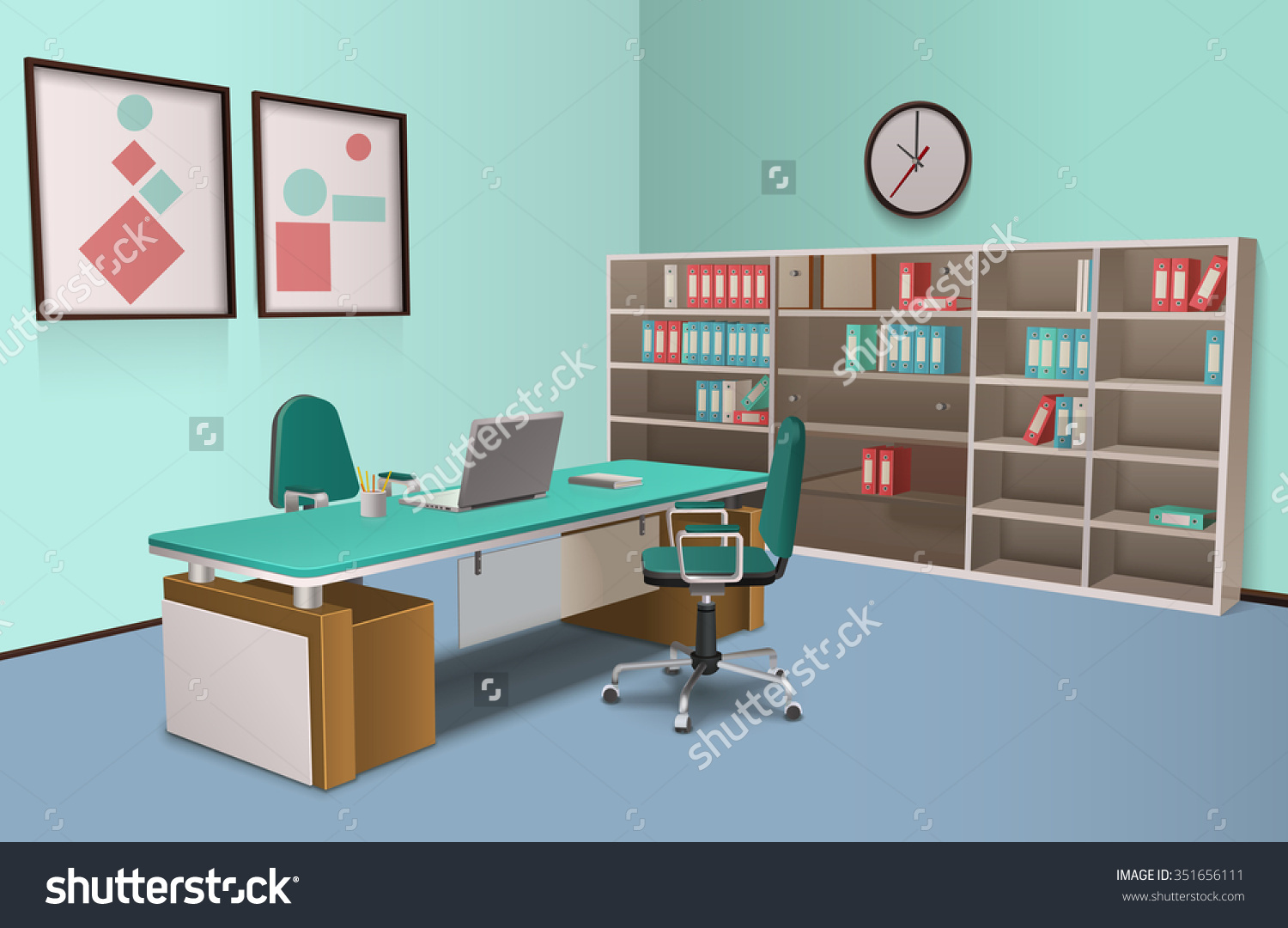 Realistic Room Office Big Boss Computer Stock Vector 351656111.