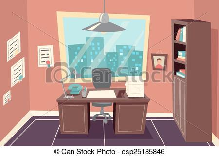 EPS Vector of Stylish Business Working Office Room Background Desk.