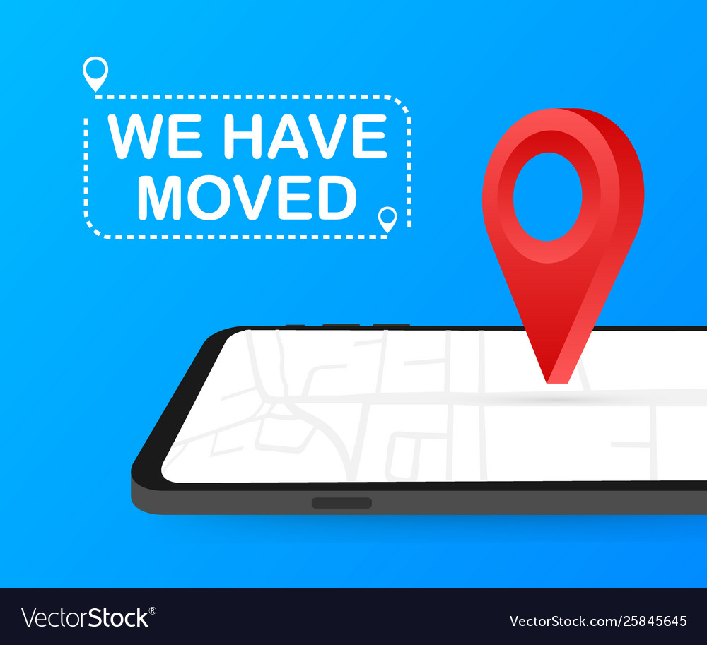 We have moved moving office sign clipart image.