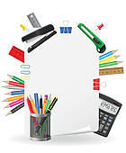 Clipart of Vector office stationery icons set: ream, note, writing.