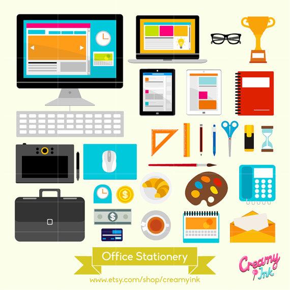 Office Stationery Digital Vector Clip art/ Desk Stationeries.