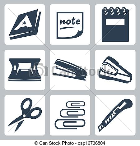 Vector Clipart of Vector office stationery icons set: ream, note.