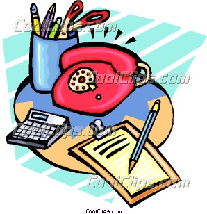 Office stationery items Clip Art.