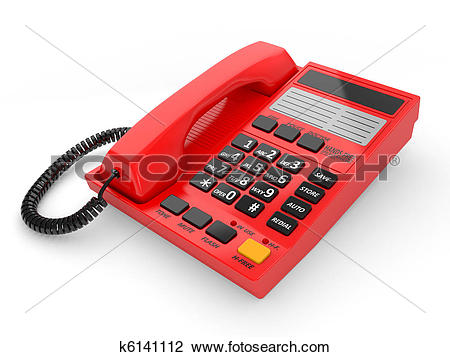 Clip Art of Modern red office telephone k6141112.