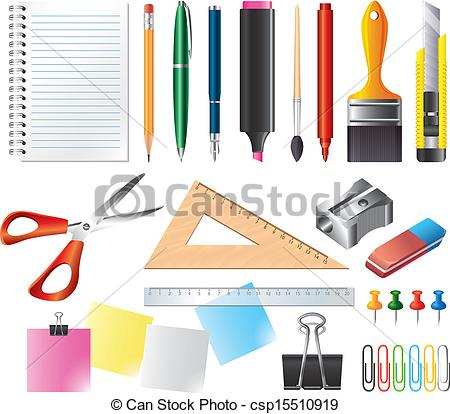 Vector Clip Art of drawing and office tools vector set.