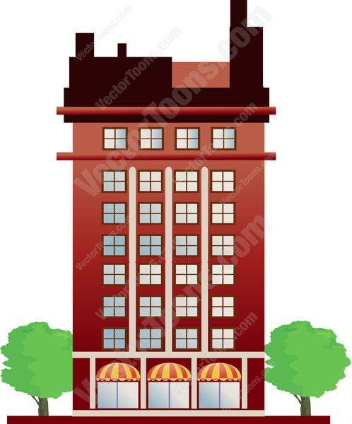 Red Office Tower With Covered Revolving Door Entrances Cartoon Clipart.