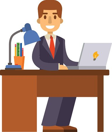 Office worker vector illustration. Clipart Image.
