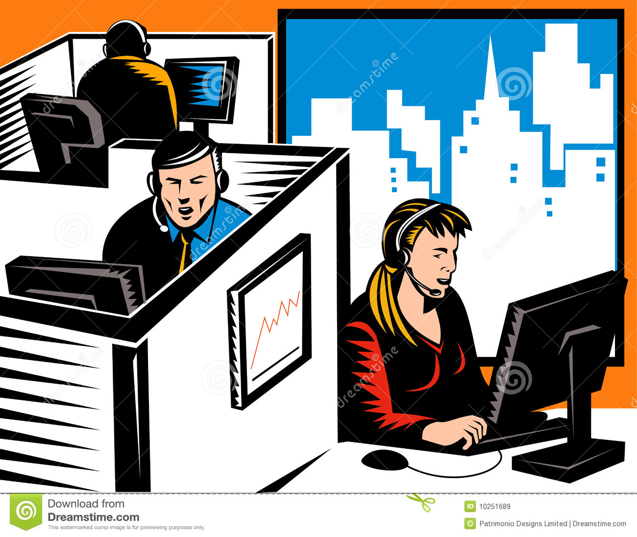 Cubicle Office Workers Clipart.
