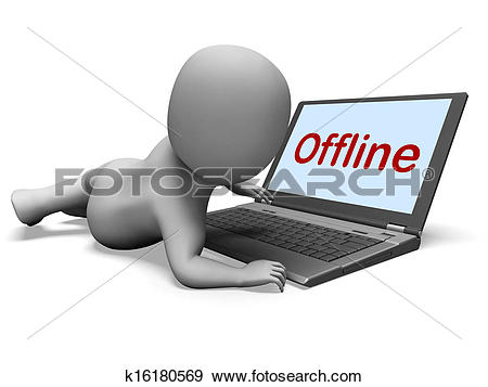 Stock Illustration of Offline Character Laptop Showing Www.