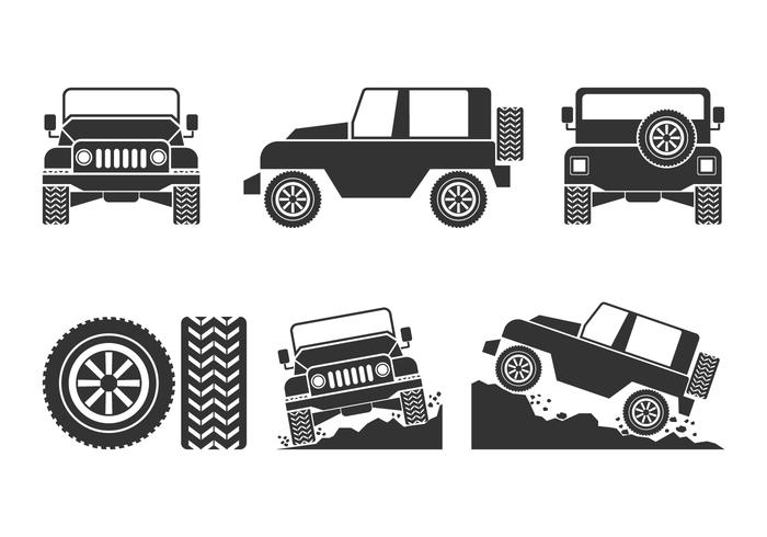 Offroad Car Vectors Set.