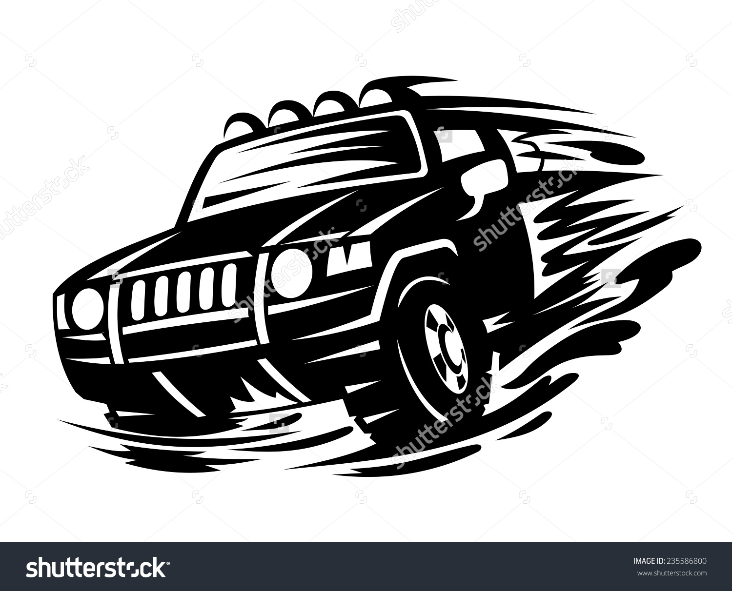 Offroad Vehicle Black Color Tattoo Design Stock Vector 235586800.