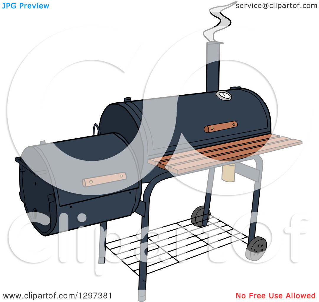 Clipart of a BBQ Offset Smoker.