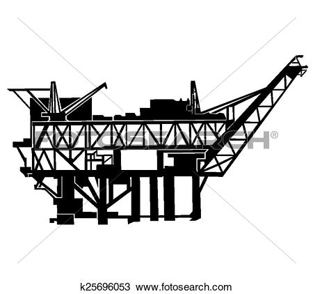 Clipart of offshore oil rig k25696053.