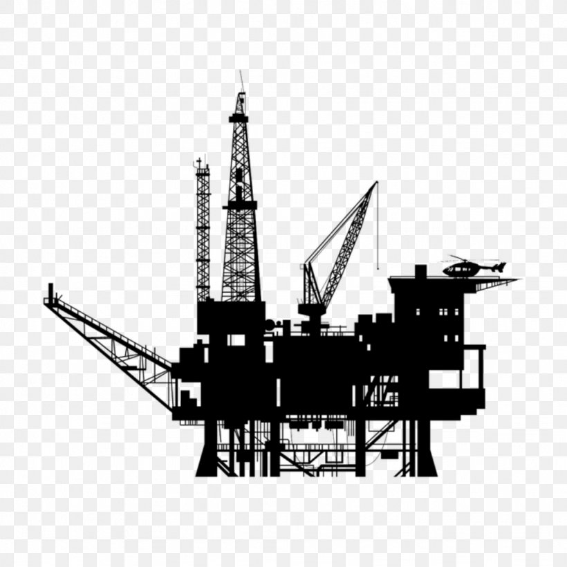 Oil Platform Drilling Rig Vector Graphics Petroleum Clip Art.