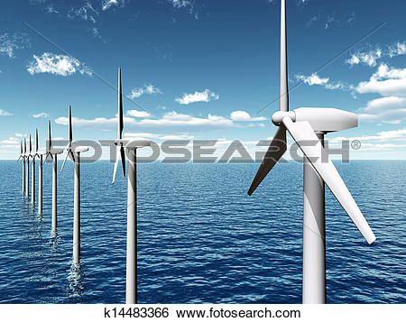Stock Illustration of Offshore Wind Farm k14483366.