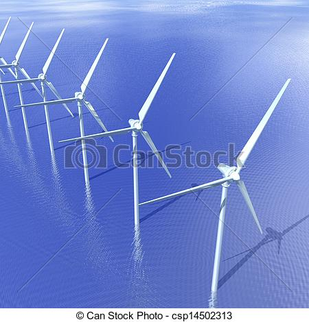 Clipart of Offshore Wind Turbines.
