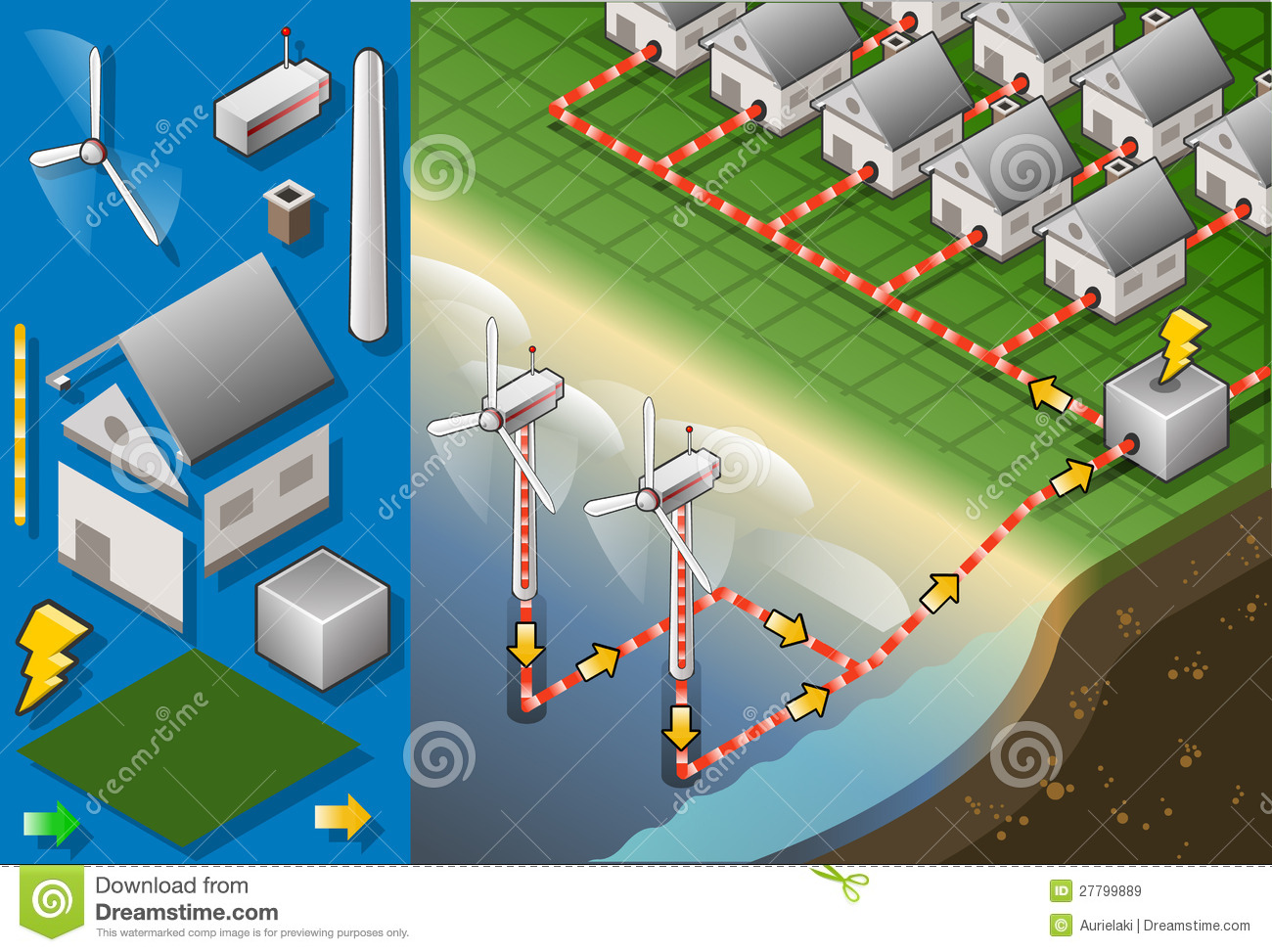 Isometric Houses With Offshore Wind Turbines Royalty Free Stock.