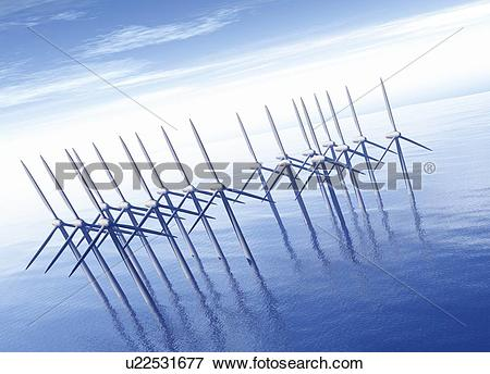 Stock Illustration of Offshore wind farm, artwork u22531677.