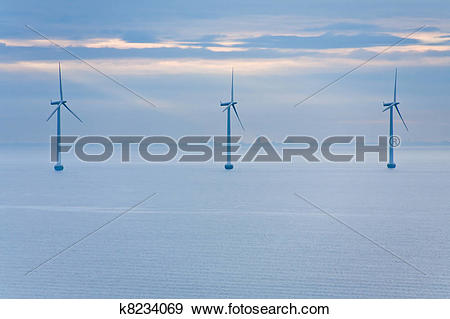Stock Photograph of offshore wind farm at early morning k8234069.