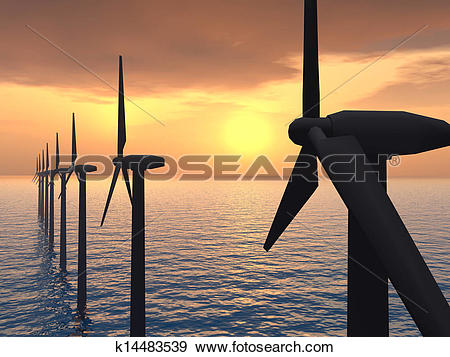 Stock Illustration of Offshore Wind Farm k14483539.