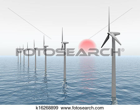 Stock Illustration of Offshore Wind Farm k16268899.