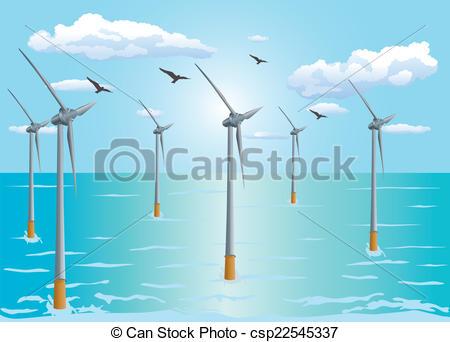 Vectors of Floating Offshore Wind Turbine.