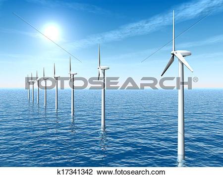 Clip Art of Offshore Wind Farm k17341342.