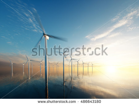 Offshore Windfarm Stock Photos, Royalty.