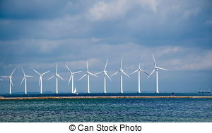 Stock Photos of offshore windmill park.