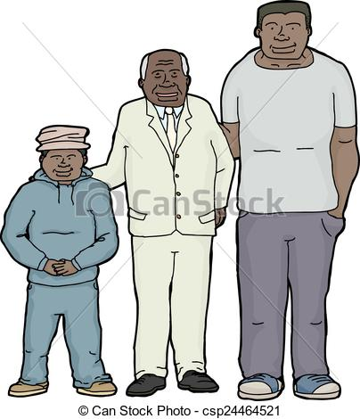Vector Illustration of Happy Grandfather with Offspring.