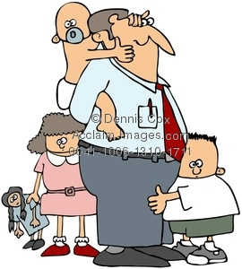 Clipart Image: Dad With His Kids.