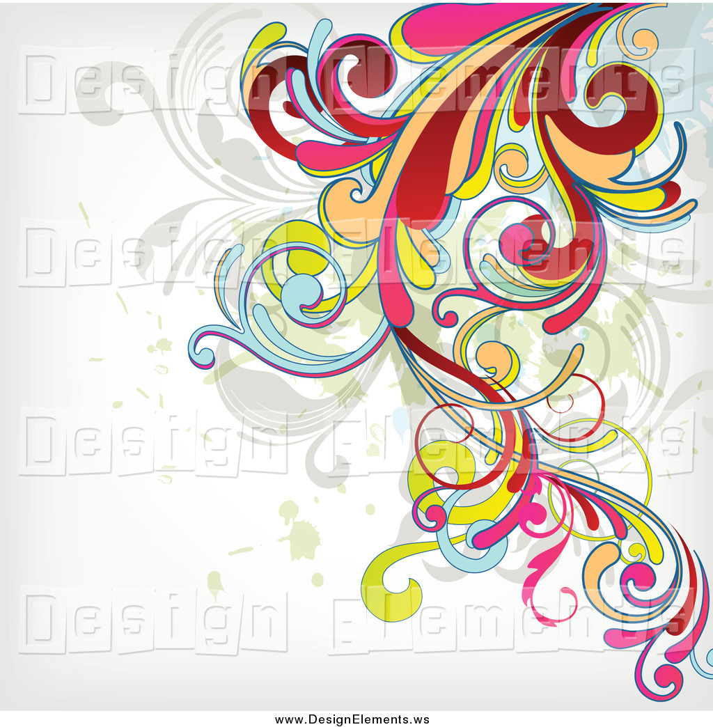 Clipart of a Colorful Flourish Background on off White by.