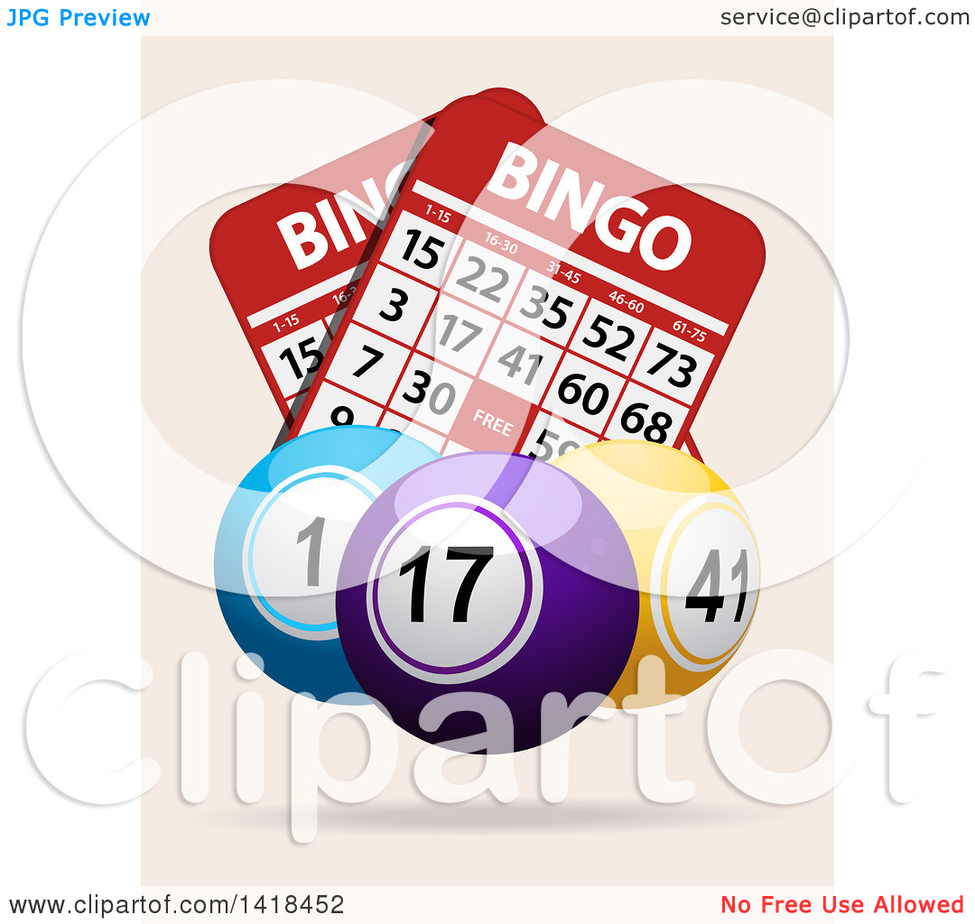 Clipart of 3d Bingo Balls over Cards, on an off White Background.