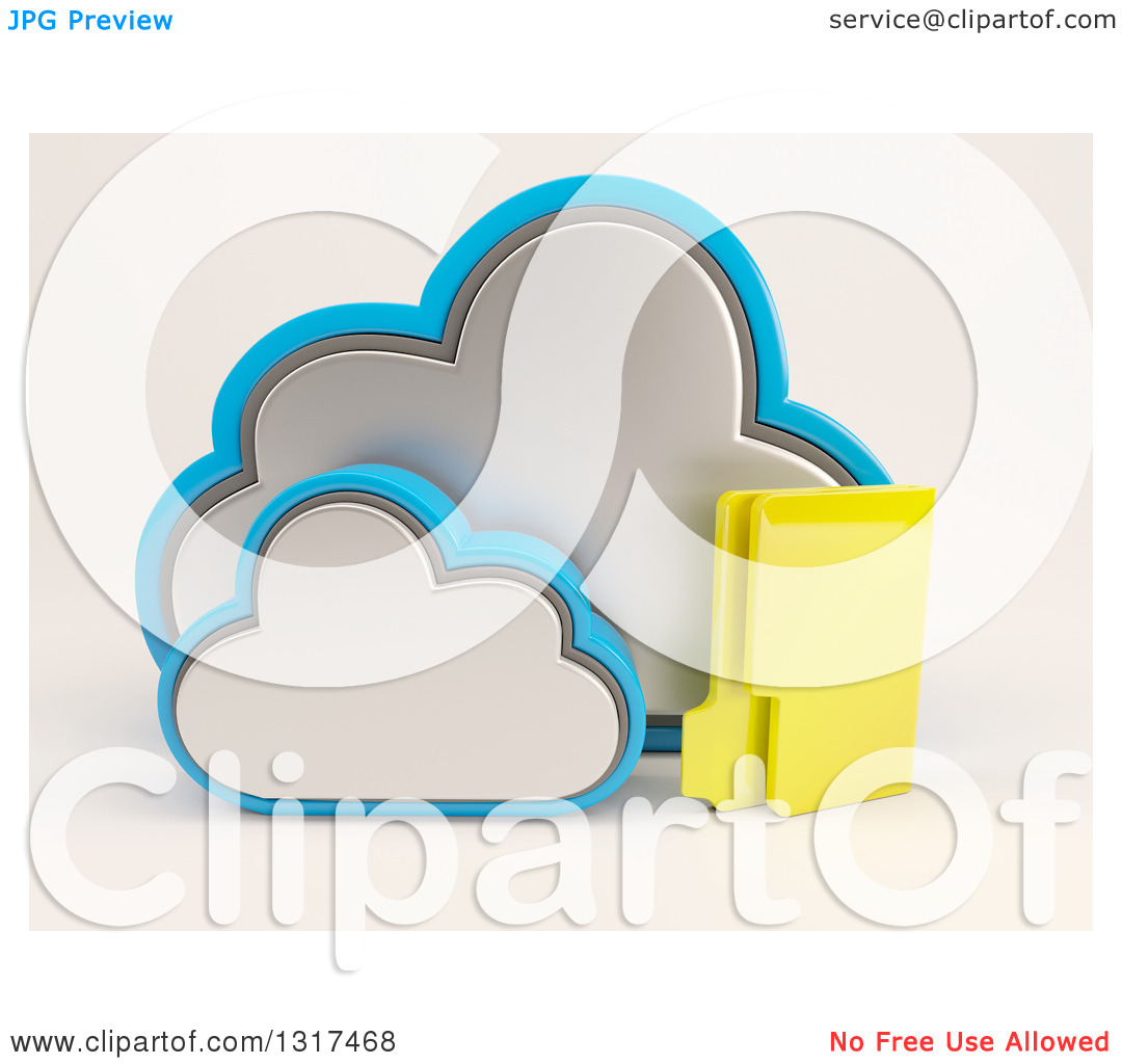 Clipart of a 3d Cloud Icon with a Folder, on off White.