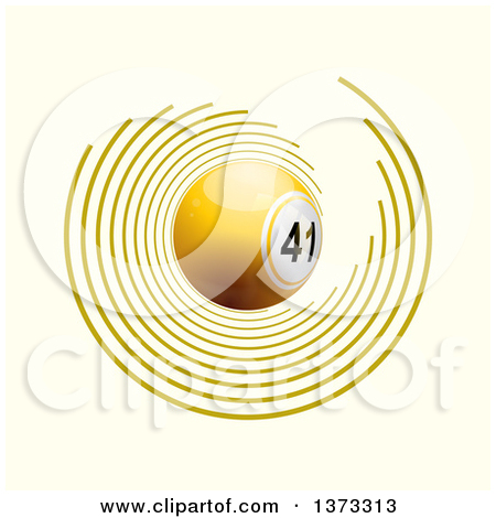 Clipart of a 3d Yellow Bingo Ball with Circles on off White.