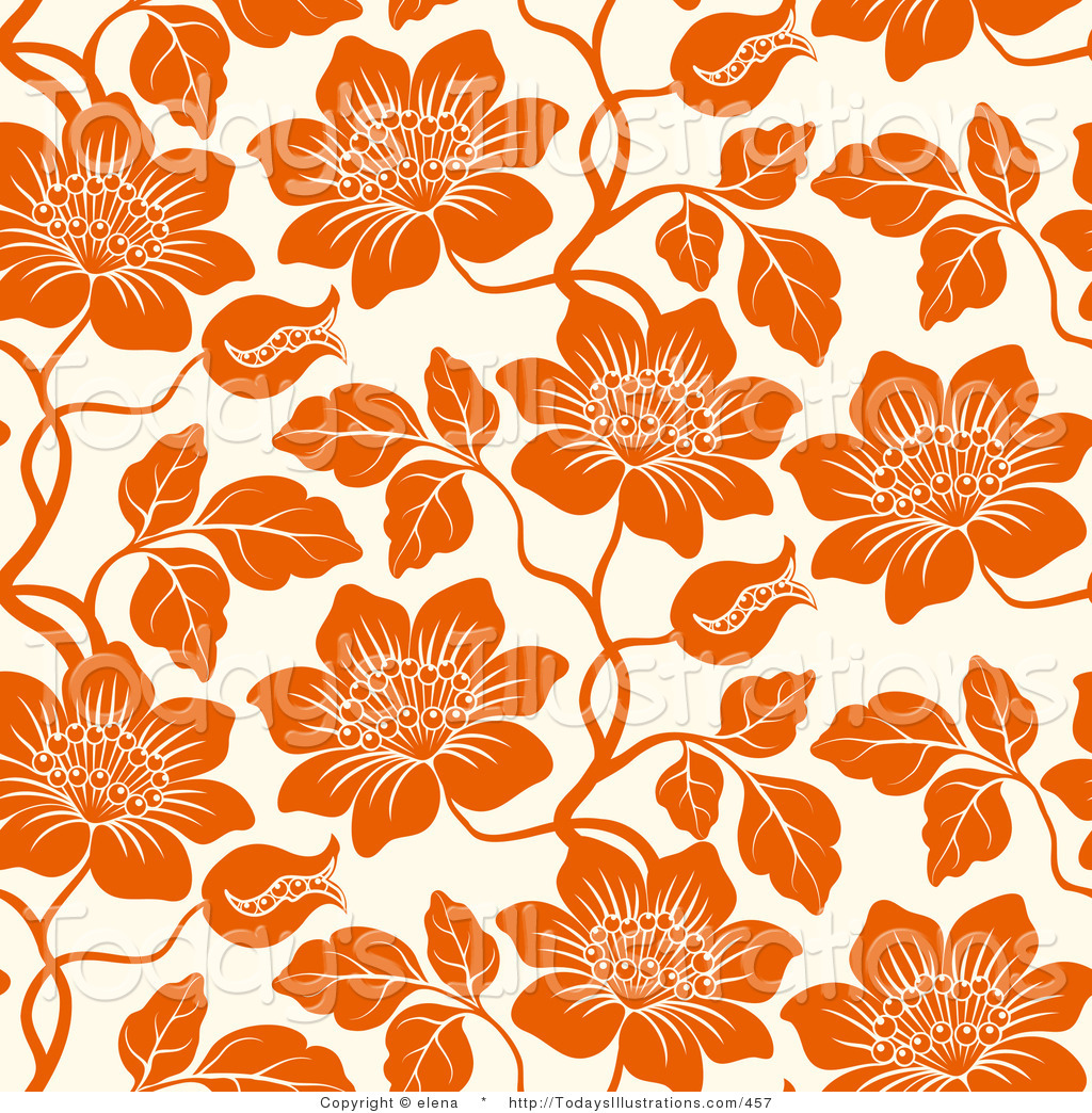 Clipart of an Orange Flowers on an off White Background by elena.