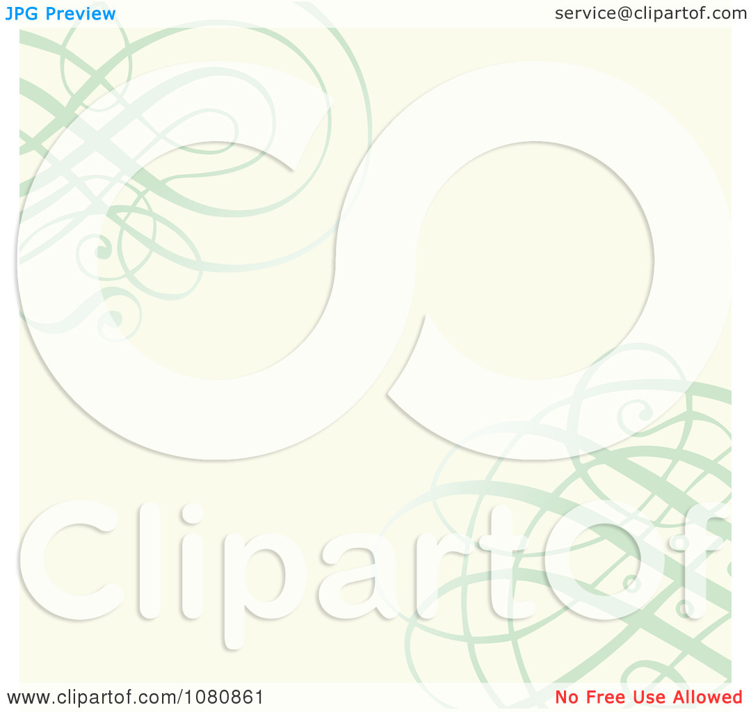 Clipart Ornate Green Swirls Over An Off White Background.