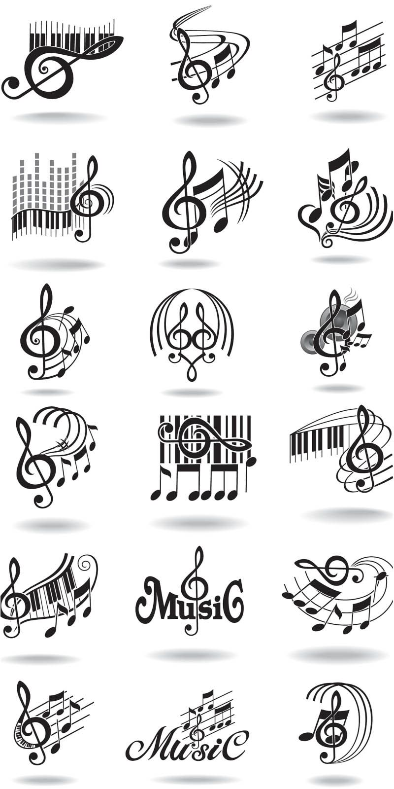Notes, music staff and treble clef vector free clip art.
