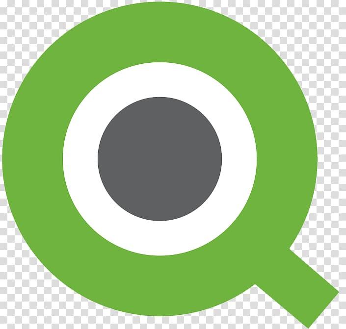 Round green and white logo, Qlik Business intelligence.