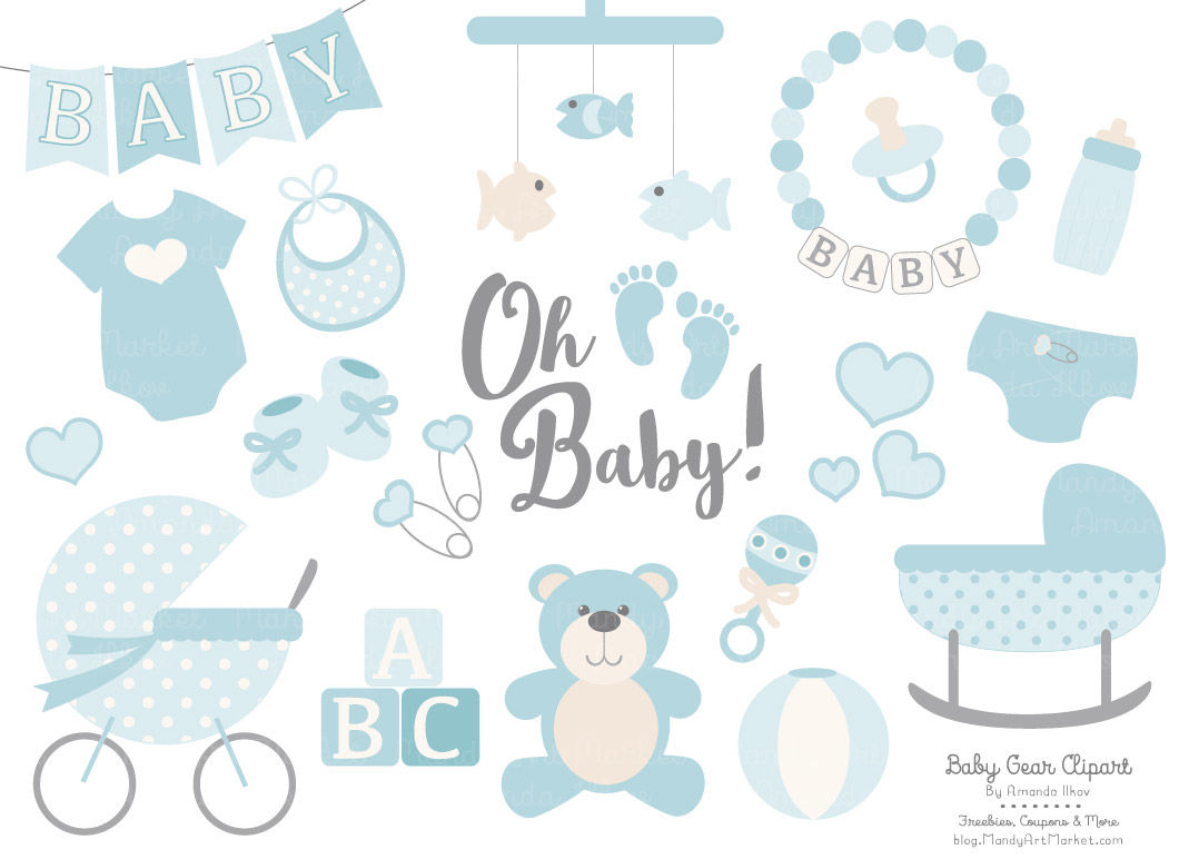 Oh Baby Clipart & Vectors Set in Soft Blue By Amanda Ilkov.