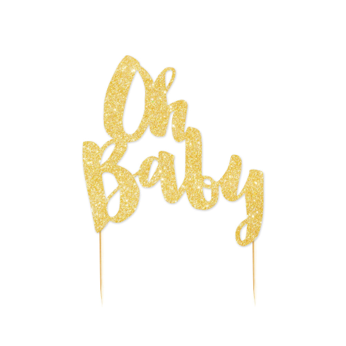 Gold Glitter Cake Topper Oh Baby.