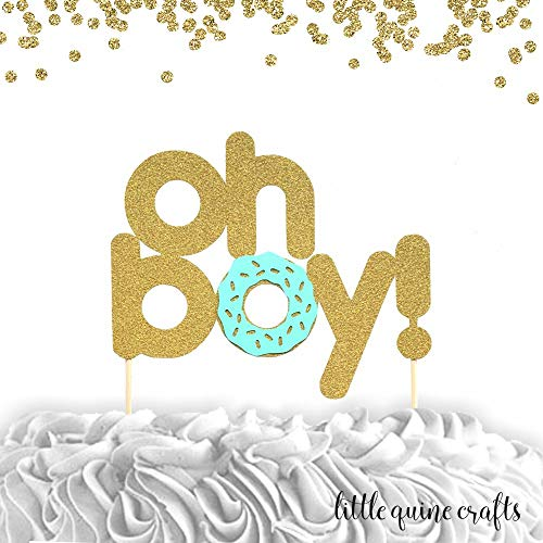 Amazon.com: 1 pc oh boy! gold glitter mint cake topper donut.