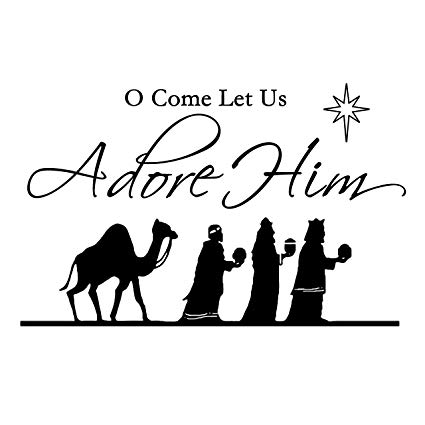 ValueVinylArt O Come Let Us Adore Him (3 wise men) Christmas Wall Decal  Black (35\