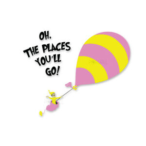 Details about New Dr Seuss Kid from Oh the Places You\'ll Go Hot Air Balloon  Wall Decal Sticker.
