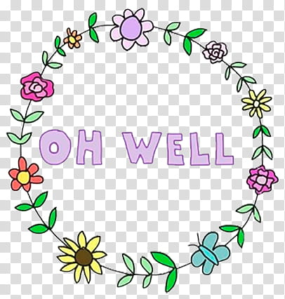 Sass, Oh Well floral wreath transparent background PNG.