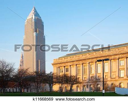 Stock Photograph of Key Tower and City Hall building at Cleveland.